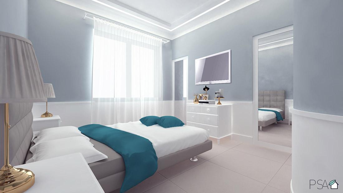 Apartament Amélie, Bedroom, Interior design, Rendering, Fuorigrotta, Pucciarelli Studio di Architettura, Italian Interiors
