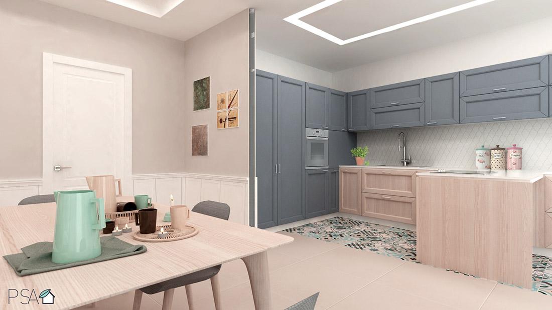 Apartament Amélie, Kitchen, Interior design, Rendering, Fuorigrotta, Pucciarelli Studio di Architettura, Italian Interiors