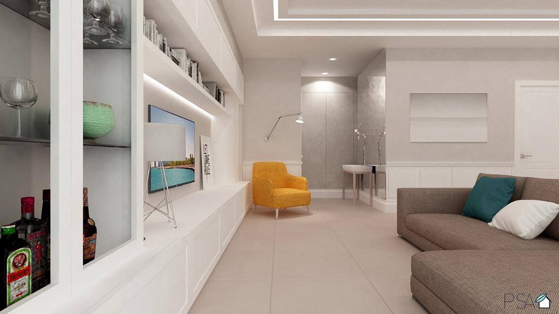 Apartament Amélie, Living room, Interior design, Rendering, Fuorigrotta, Pucciarelli Studio di Architettura, Italian Interiors