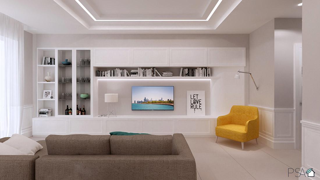 Appartamento Amélie, Parete attrezzata, Interior design, Rendering, Fuorigrotta, Pucciarelli Studio di Architettura, Italian architecture