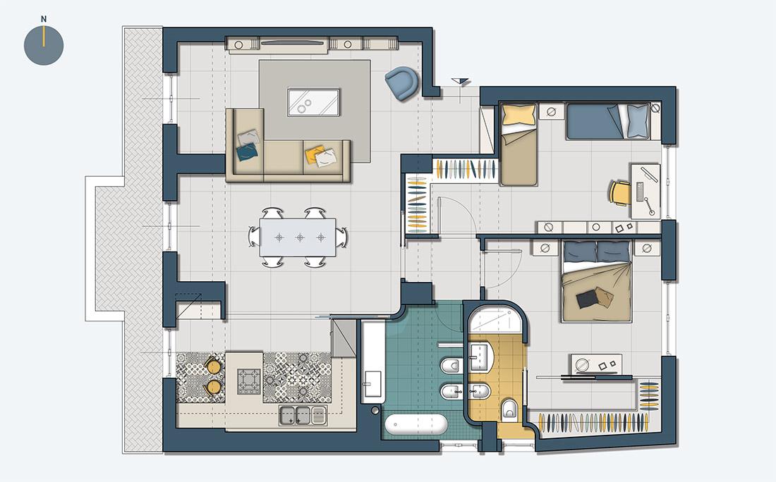 Appartamento Amélie, Design d'interni, Progetto, Pianta arredata, Fuorigrotta, Pucciarelli Studio di Architettura