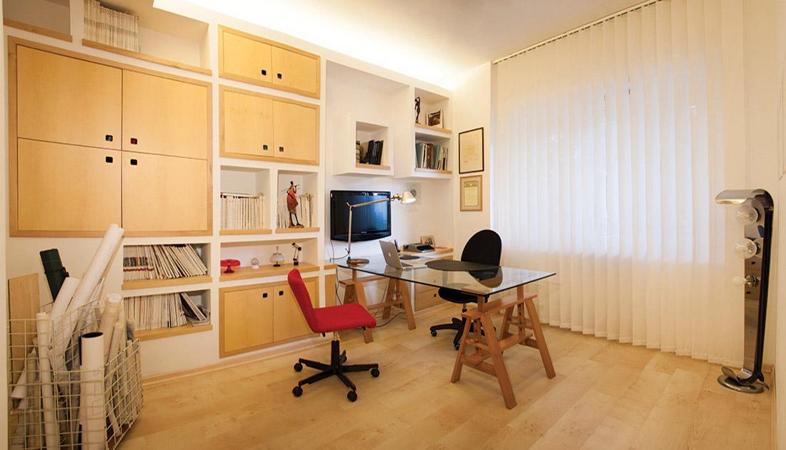kangei-e-studio-sala-con-libreia-mondrian