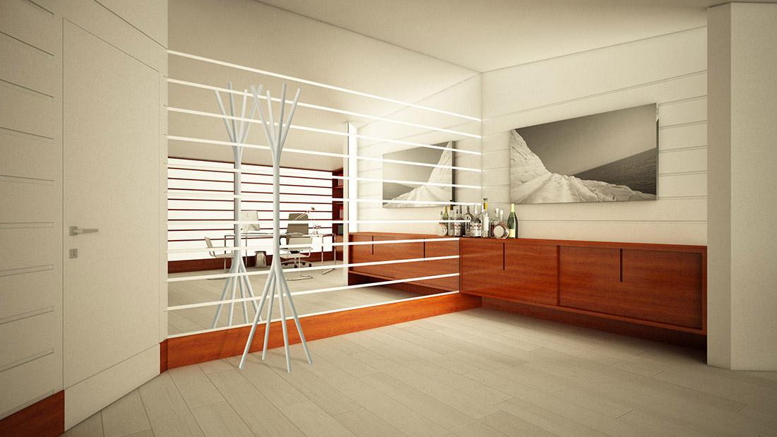 light idea-ufficio-e-area-relax-parete-ingresso-a-specchio